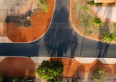 Drone image of completed roadworks