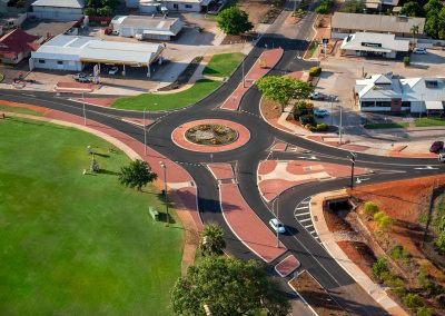 Helicopter image of newly constructed roundabout in Broome
